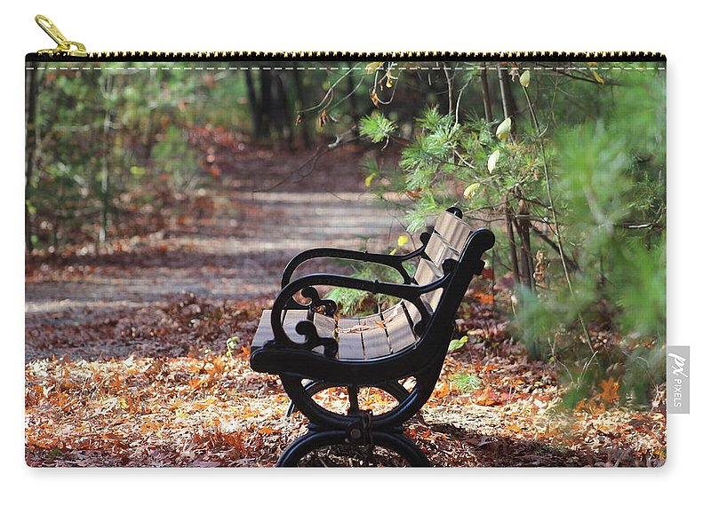 Bench Carry-all Pouch featuring the photograph Rest A While by Kathleen Moore Lutz