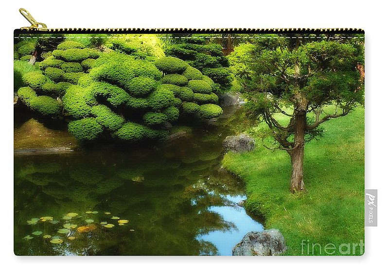 Peaceful Garden Carry-all Pouch featuring the photograph Rest By The Pond by Carol Groenen
