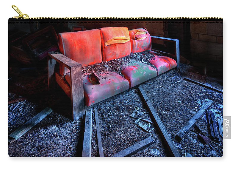 Couch Carry-all Pouch featuring the photograph Rest In Pieces by Evelina Kremsdorf