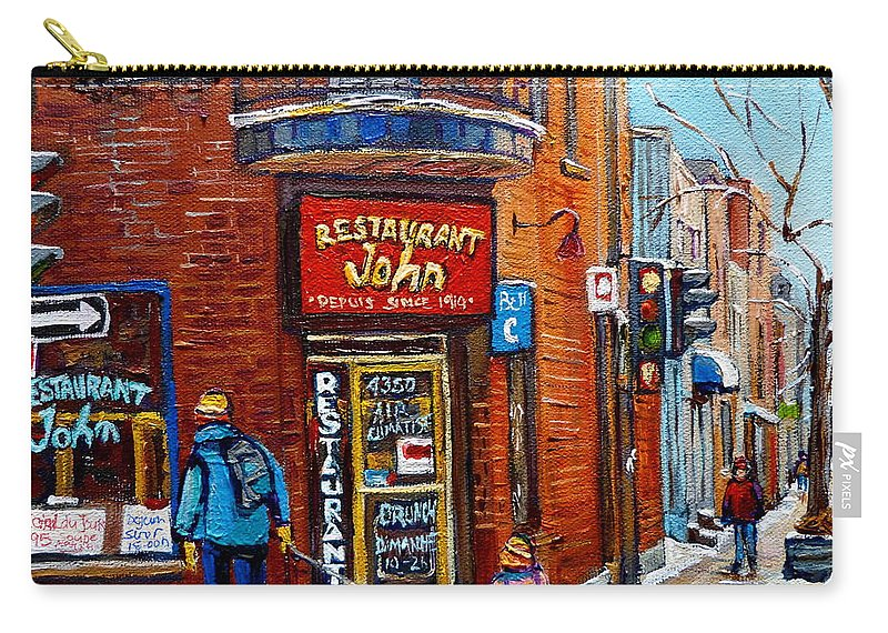 Restaurant John Montreal Carry-all Pouch featuring the painting Restaurant John Montreal by Carole Spandau