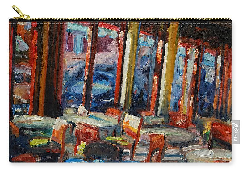 Cityscape Carry-all Pouch featuring the painting Restaurant On Columbus by Rick Nederlof