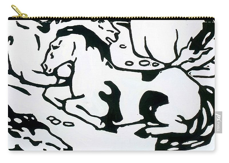 Resting Carry-all Pouch featuring the painting Resting Horses 1912 by Marc Franz