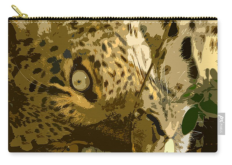 Leopard Carry-all Pouch featuring the painting Resting Leopard by David Lee Thompson