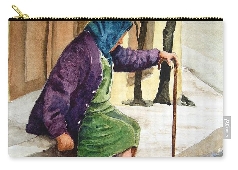 Old Lady Carry-all Pouch featuring the painting Resting by Sam Sidders