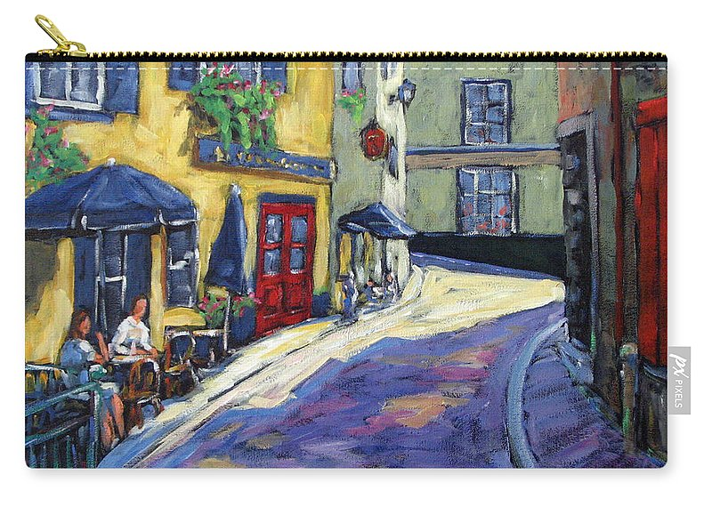 Restaurant Carry-all Pouch featuring the painting Resto Le Cochon Dingue In Old Quebec by Richard T Pranke