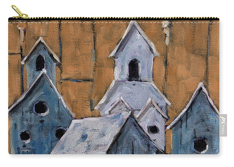Art Carry-all Pouch featuring the painting Retired Bird Houses By Prankearts Fine Arts by Richard T Pranke
