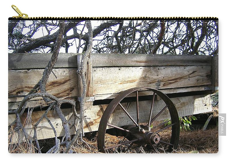 #retiredfarmwagon Carry-all Pouch featuring the photograph Retired Farm Wagon by Will Borden