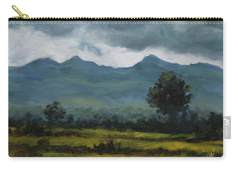 Nature Carry-all Pouch featuring the painting Retreating Monsoon by Mandar Marathe