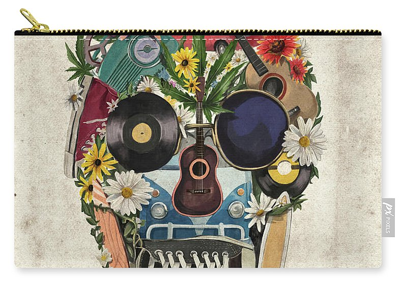 Skull Carry-all Pouch featuring the painting Retro Hippie Skull by Bekim M