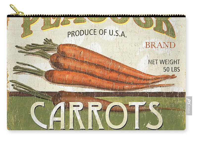 Food Carry-all Pouch featuring the painting Retro Veggie Label 2 by Debbie DeWitt