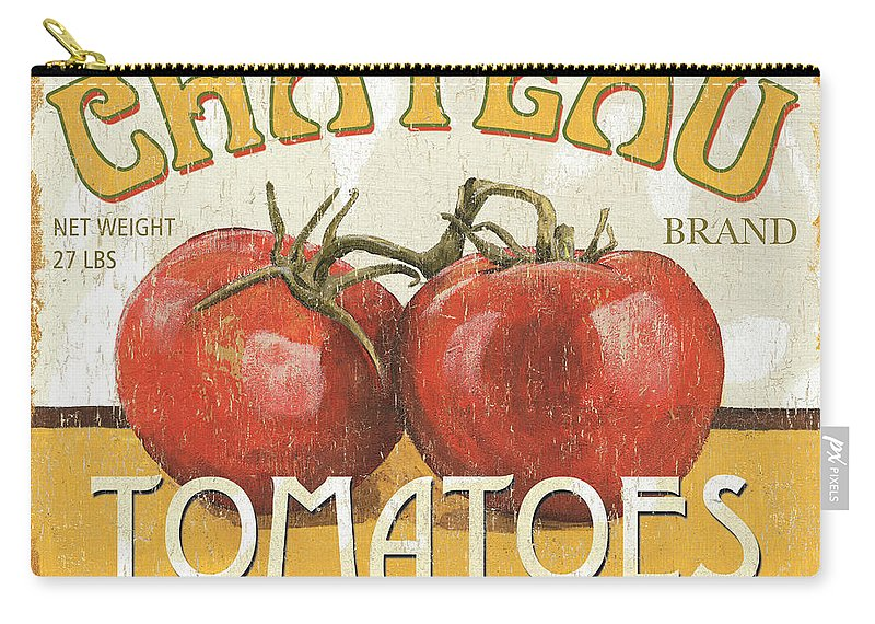 Food Carry-all Pouch featuring the painting Retro Veggie Labels 4 by Debbie DeWitt