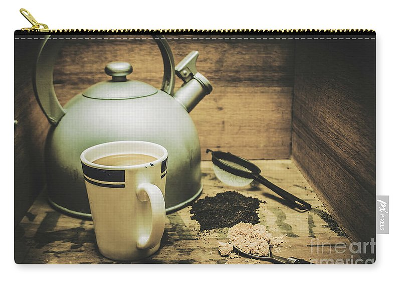Beverage Carry-all Pouch featuring the photograph Retro Vintage Toned Tea Still Life In Crate by Jorgo Photography - Wall Art Gallery