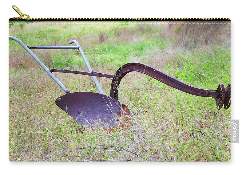 Americana Carry-all Pouch featuring the photograph Retrofit Walk-behind Plow by Mike and Sharon Mathews