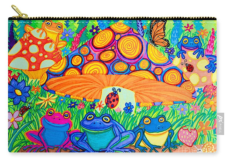 Frog Carry-all Pouch featuring the drawing Return To Happy Frog Meadow by Nick Gustafson