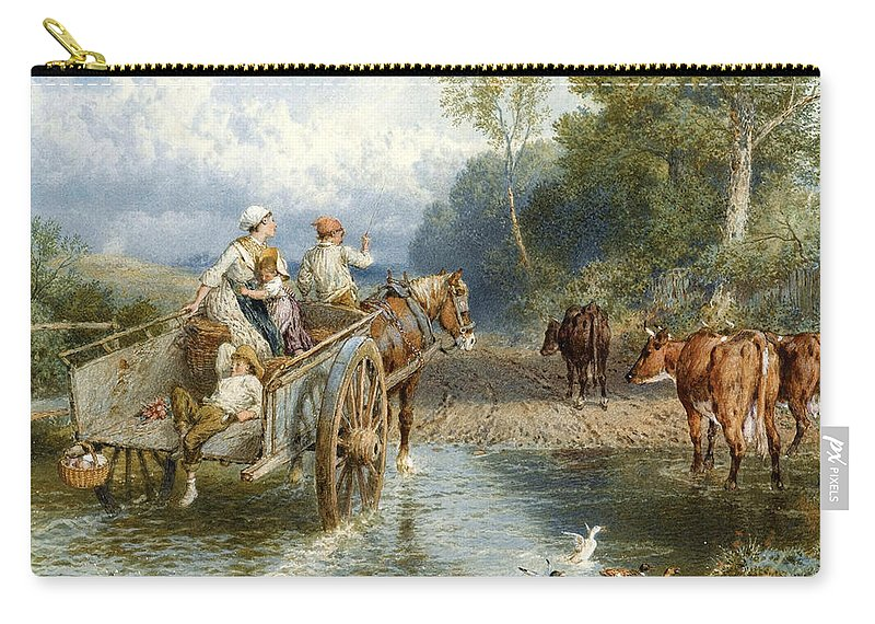 Myles Birket Foster Carry-all Pouch featuring the drawing Returning From Market by Myles Birket Foster