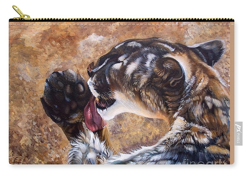 Catamount Carry-all Pouch featuring the painting Reverie by J W Baker