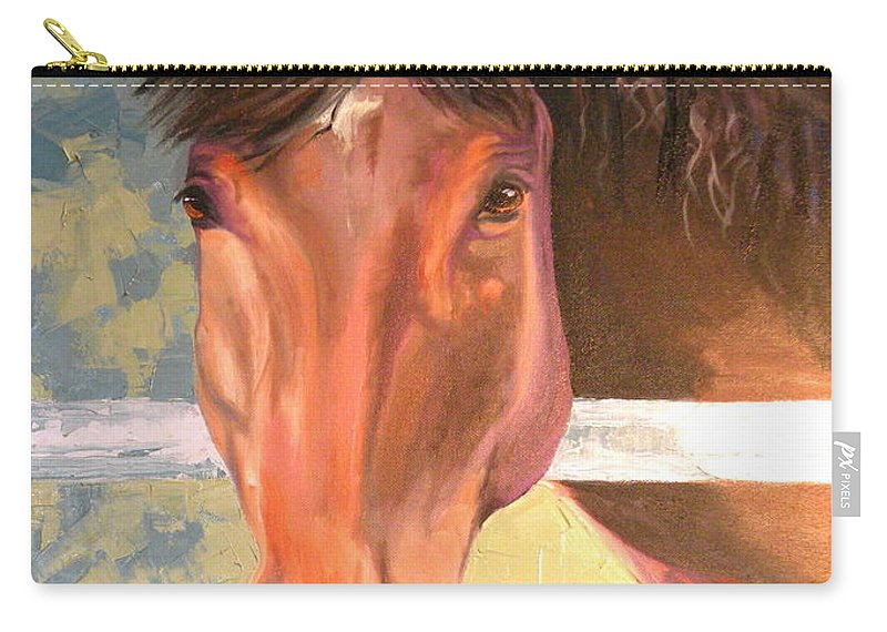 Horse Carry-all Pouch featuring the painting Reverie - Quarter Horse by Susan A Becker
