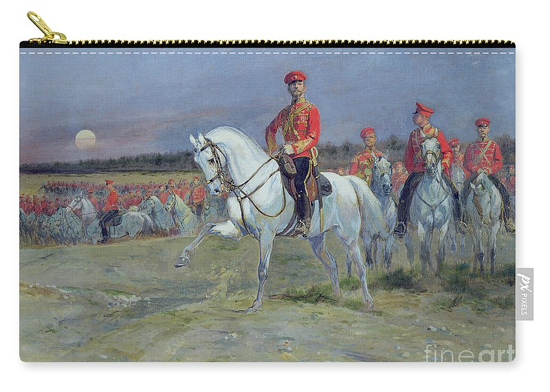 Tsarevich Carry-all Pouch featuring the painting Reviewing The Troops by Jean Baptiste Edouard Detaille