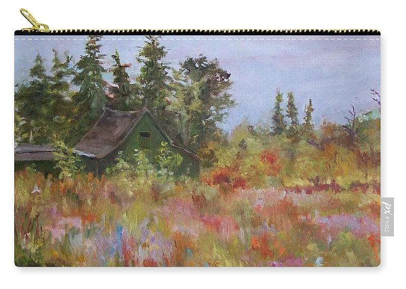 Foliage Carry-all Pouch featuring the painting Revolutionary Barn by Alicia Drakiotes