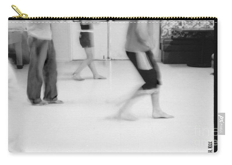 Photo Photography Black And White Digital Graphic Photoshop Rehearse Rehearsal Practice Dance Jazz Ballet Modern Music Stretch Arm Body Leg Foot Feet Knee Room Door Rules Exit Inverse Negative Dark Light Bright Gray Frame Slide Back Backward Stripe Bar Jeans Carry-all Pouch featuring the photograph Rewind by Heather Kirk