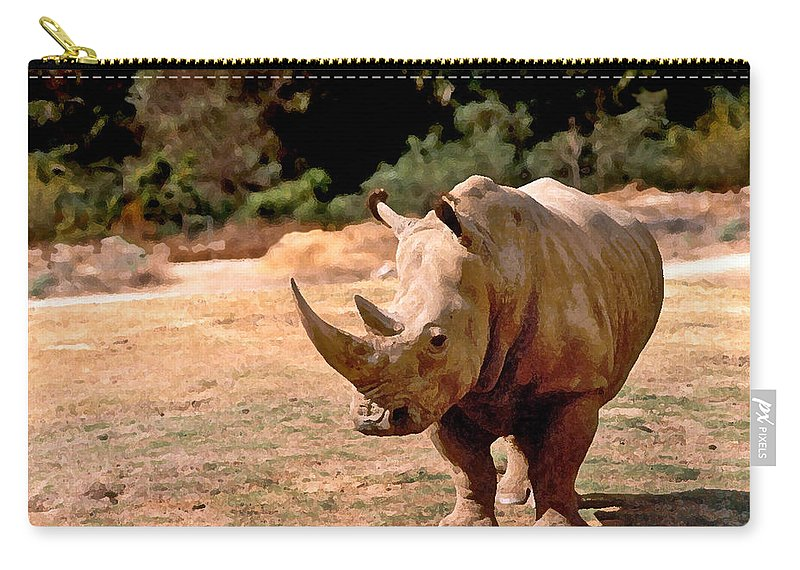 Animal Carry-all Pouch featuring the painting Rhino by Steve Karol
