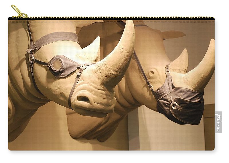 Macro Carry-all Pouch featuring the photograph Rhinos by Rob Hans