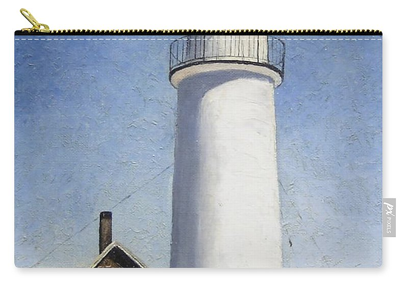 Lighthouse Carry-all Pouch featuring the painting Cape Cod Light by Mary Rogers