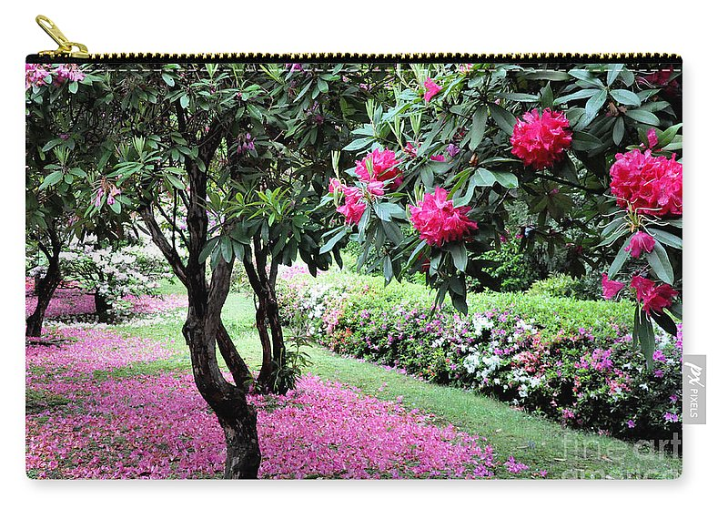 Nature Carry-all Pouch featuring the photograph Rhododendrons Blooming Villa Carlotta Italy by Tanya Searcy
