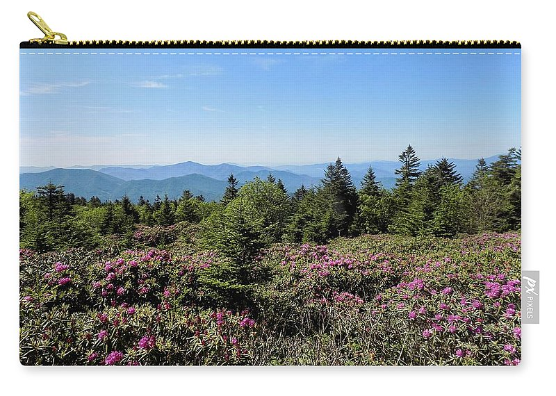 Mountain Landscape Carry-all Pouch featuring the photograph Rhododendron On Roan Mountain by Amelia Jean Miller