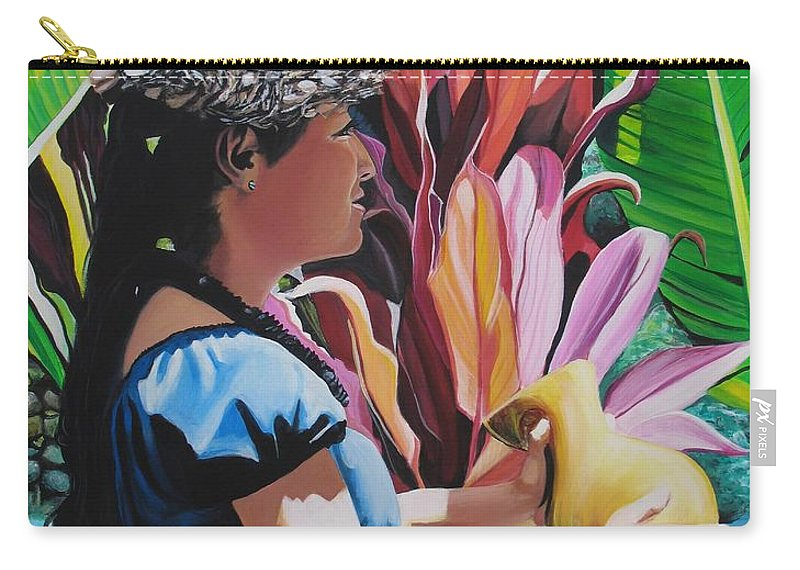 Rhythm Carry-all Pouch featuring the painting Rhythm Of The Hula by Marionette Taboniar
