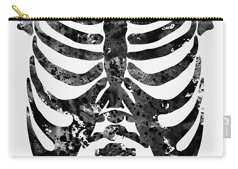 Rib Cage Human Chest Skeleton Carry-all Pouch featuring the digital art Rib Cage-black by Erzebet S