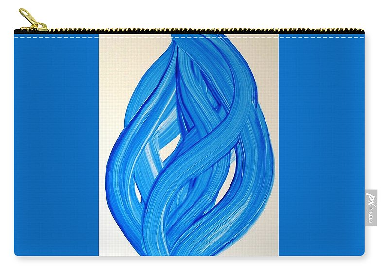 Abstract Modern Contemporary Yupo Art Painting Romantic Pop Blue Carry-all Pouch featuring the painting Ribbons Of Love-blue by Manjiri Kanvinde