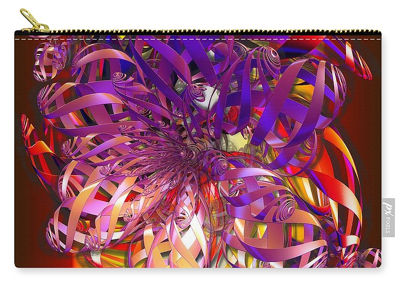 Abstract Carry-all Pouch featuring the digital art Ribbons by Ron Bissett