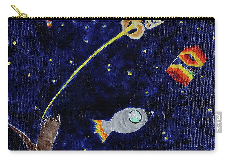 Acrylic Painting Carry-all Pouch featuring the painting Ribcage To The Stars by Katherine Fishburn