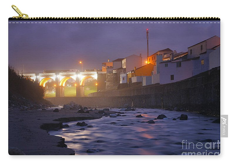 Ribeira Grande Carry-all Pouch featuring the photograph Ribeira Grande At Night by Gaspar Avila
