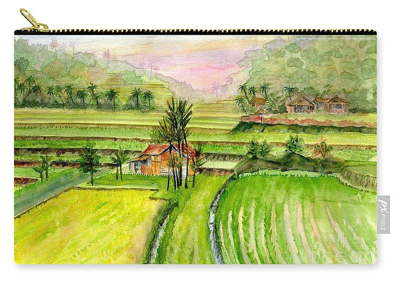 Ricefield Carry-all Pouch featuring the painting Ricefield Panorama by Melly Terpening