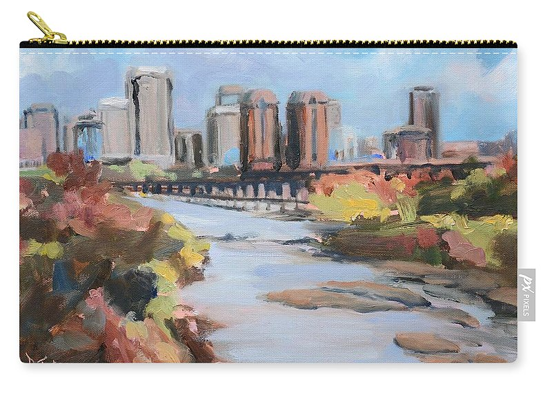 Richmond Carry-all Pouch featuring the painting Richmond Virginia Skyline In Autumn by Donna Tuten