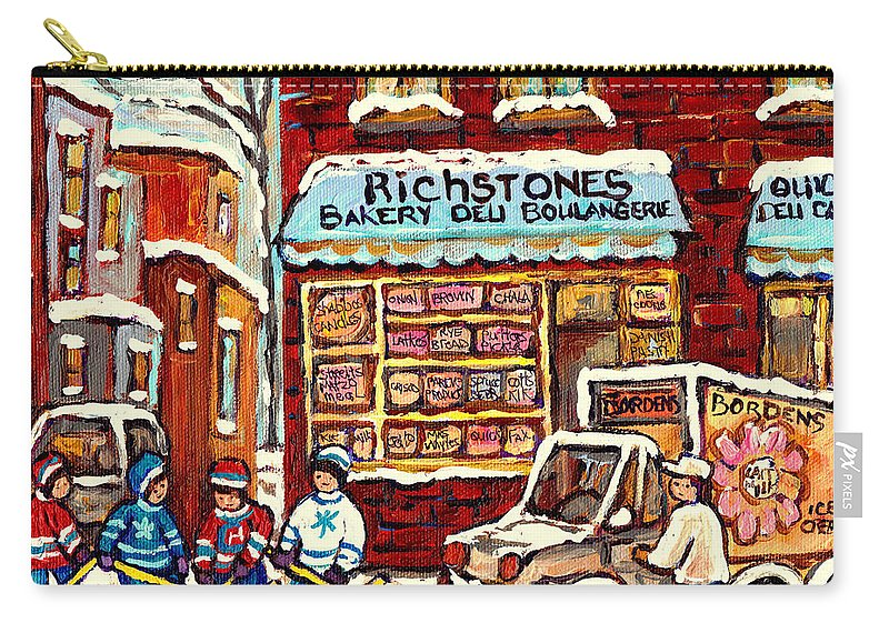 Montreal Carry-all Pouch featuring the painting Richstone Bakery Montreal Memories Borden's Milk Truck Street Hockey Art Carole Spandau       by Carole Spandau