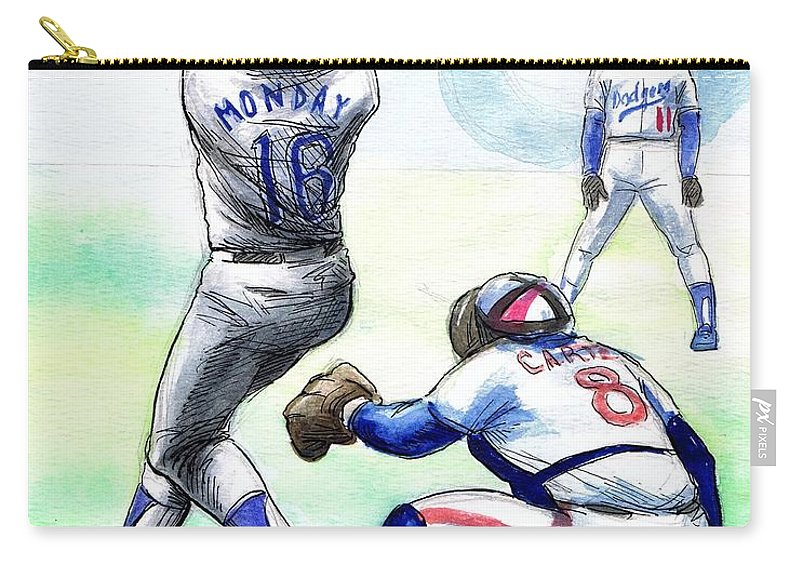 Nostalgia Carry-all Pouch featuring the drawing Rick Monday by Mel Thompson