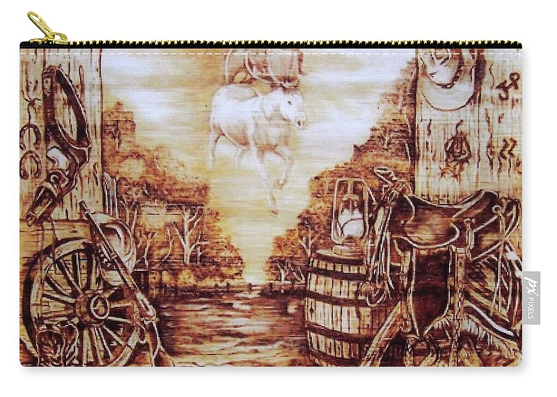 Western Carry-all Pouch featuring the pyrography Riders In The Sky by Danette Smith