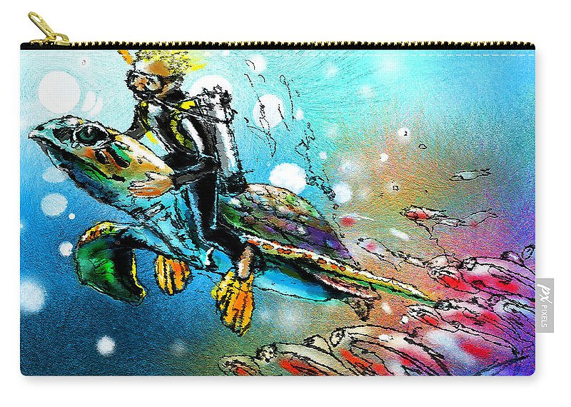 Turtle Painting Carry-all Pouch featuring the painting Riding A Turtle by Miki De Goodaboom