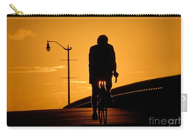 Bicycle Carry-all Pouch featuring the photograph Riding At Sunset by David Lee Thompson