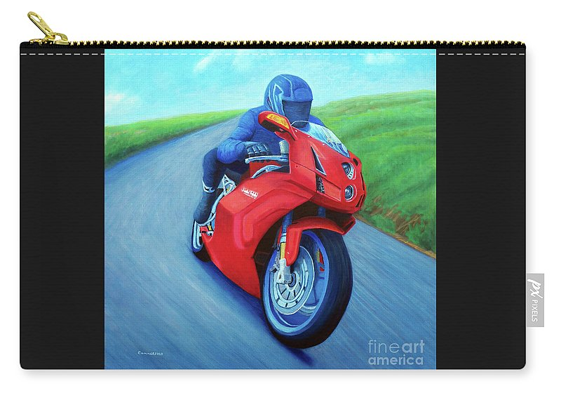 Motorcycle Carry-all Pouch featuring the painting Riding The Highlands - Ducati 999 by Brian Commerford