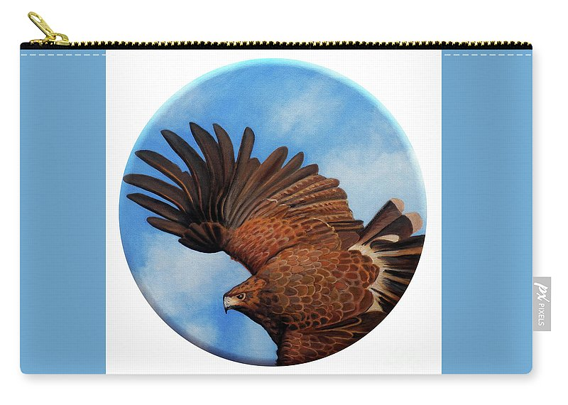 Hawk Carry-all Pouch featuring the painting Riding The Wind by Brian Commerford