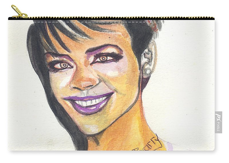 Music Carry-all Pouch featuring the painting Rihanna by Emmanuel Baliyanga