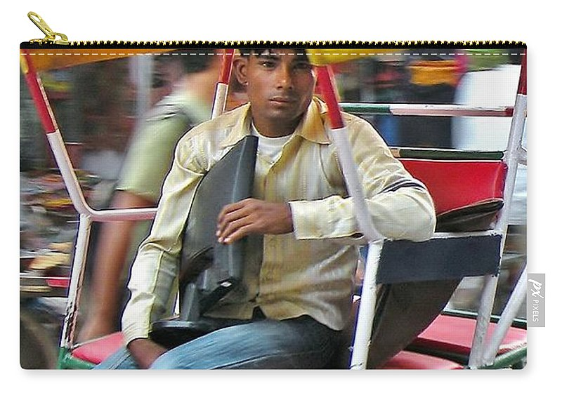 Carry-all Pouch featuring the photograph Rikshaw Rider - New Delhi India by Kim Bemis