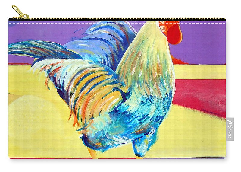 Rooster Carry-all Pouch featuring the painting Riley The Rooster by Christine Belt