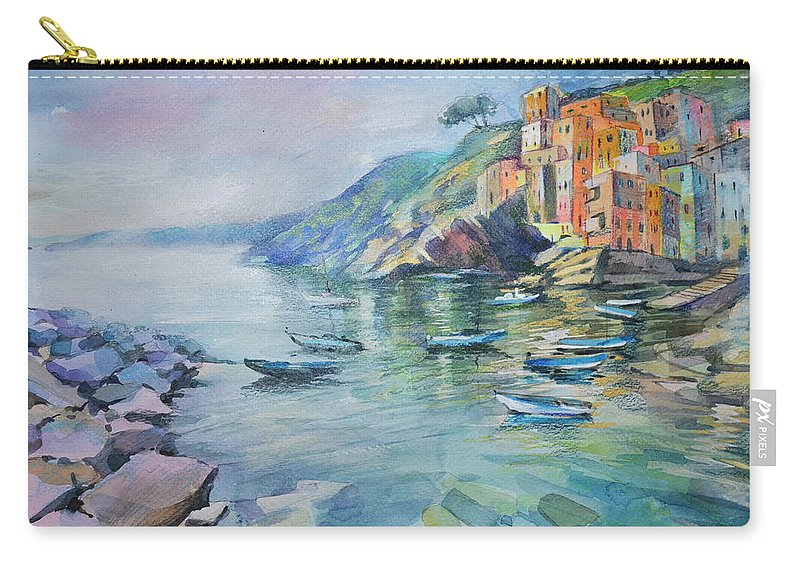 Landscape Carry-all Pouch featuring the painting Riomaggiore Cinque Terre Italy by Annika Zalmover
