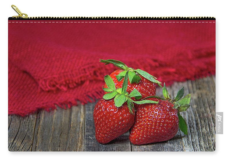 Strawberry Carry-all Pouch featuring the photograph Ripe Strawberries by Maria Dryfhout