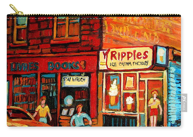 Ripples Icecream Factory Carry-all Pouch featuring the painting Ripples Ice Cream Factory by Carole Spandau